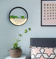 Add light and modern Nordic style to your home with this stunning wall mounted round planter lamp! Made from modern iron metal. Measures approximately x Free Worldwide Shipping & Money-Back Guarantee Wall Mounted Planters, Wall Mounted Lamps, Hanging Vases, Wooden Lanterns, How To Make Lanterns, Modern Planters, Mason Jar Lighting, Black Lamps, Million Dollar Rooms