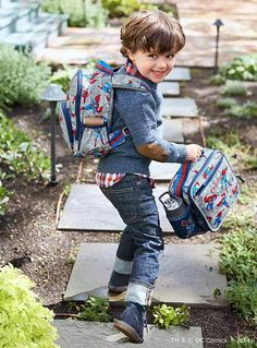 Celebrating Super Heroes with this adorable Superman backpack and lunch bag!