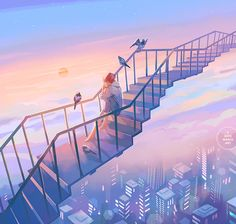 3 days march: a portfolio of illustration and more by Loika (Yan Qin Weng). Fantasy Art Landscapes, Fantasy Landscape, Aesthetic Art, Aesthetic Anime, Japon Illustration, Anime Scenery Wallpaper, Fantasy Kunst, Anime Art Girl, Cute Art