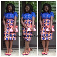 African Print Dress with lace embellishment