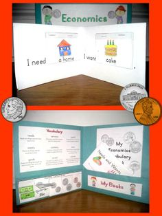 Economics Interactive Folder, Needs and Wants, currency, jobs, goods and services, Kindergarten, First Grade $