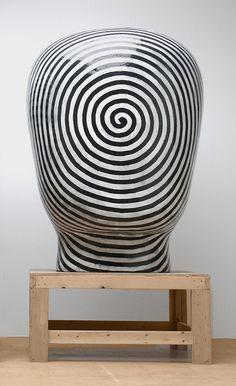 Glass ceramic head by Jun Kaneko (1942, Japanese)
