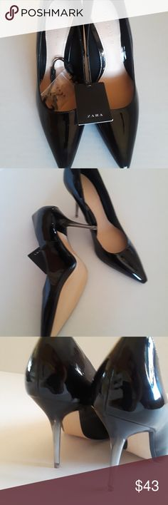 b22a17da7ea Zara Women s Pointed Black Patent Pumps SZ 8 Zara women US size 8 and UK  size 6 High Heels court shoes with methacrylate heels.