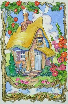 Blossom Cottage Storybook Cottage Series - Original Fine Art for Sale - � Alida Akers