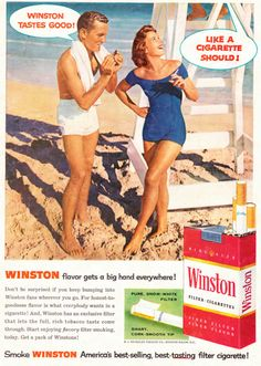 1957 Ad, Winston Cigarettes, Man & Woman in Swim Suits at Beach | Flickr - Photo Sharing!