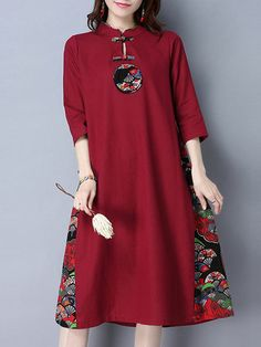 Red Buttoned A-line Long Sleeve Vintage Dress