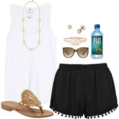 """Pom Pom Shorts"" by thevirginiaprep on Polyvore"