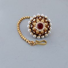 Red Ruby, Pearl Cubic Zircon Gold Filigree Pearl Headdress- Hair Headband Statement Jewelry- wedding, party, bridal tikka ❥Item Code : sm-01 ❥
