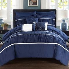 Chic Home, Wanda 10 Piece Bed in a Bag Comforter Set by  Navy - CS2116-HE