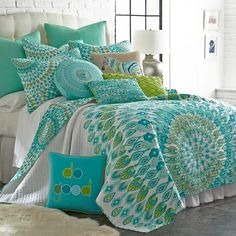 King Quilt Sets, Queen Quilt, Teal Quilt, White Bedspreads, Comforters, Do It Yourself Design, Piece A Vivre, Make Your Bed, Quilt Bedding