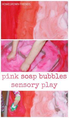 Pink Soap Bubbles Sensory Play