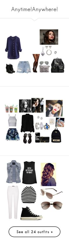"""""""Anytime!Anywhere!"""" by jenn-218 ❤ liked on Polyvore featuring Topshop, Leg Avenue, Coach, Yves Saint Laurent, The Rogue + The Wolf, Ray-Ban, Moschino, H&M, Glamorous and Chanel"""