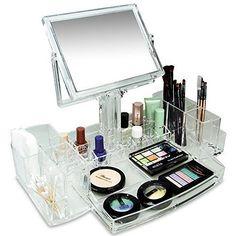 Cosmetic Makeup Acrylic Organizer 2 Sided Mirror Jewelry Beauty Storage Display #IkeeDesign