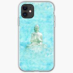 'Zen Buddha Meditation Statue in turquoise background' iPhone Case by Annie Nader Buddha Zen, Buddha Meditation, Iphone Wallet, Iphone 11, Iphone Cases, Turquoise Background, Background S, Annie, Bubbles
