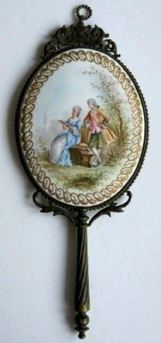 Antique Hand Mirror ~ Porcelain ~ Hand Painted ~ France, ca. 1920's