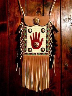 """""""Red Hand"""" beaded pouch"""