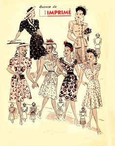Lovely summer dresses from La Mode Chic, June 1946. #vintage #1940s #fashion