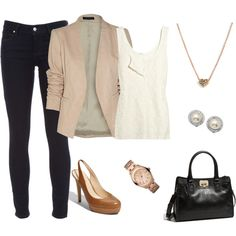 beige blazer, simple elegant jewelry skinnies & heels.