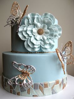Mosaic and butterflies cake