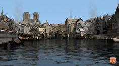 Sous le Pont St Michel et en regardant vers Notre Dame, voici certainement ce à quoi le bras sud de la Seine devait ressembler avant la construction des quais réhaussés. A gauche le Marché de l'Orberie avec ses deux halles. Au fond le Petit-Pont et le Petit-Châtelet rive Gauche.