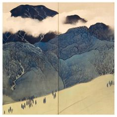 Mountain Landscape Six-Panel Folding Screens | From a unique collection of antique and modern paintings and screens at https://www.1stdibs.com/furniture/asian-art-furniture/paintings-screens/