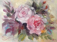 Two Roses Original Oil Painting Painting on Canvas Board
