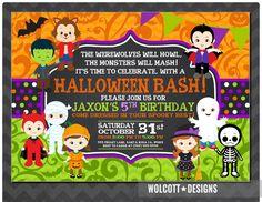 Halloween Birthday Invitation, Kids Halloween Party Invitation, Costume Party…