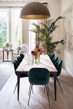Get inspired by these dining room decor ideas! From dining room furniture ideas, dining room lighting inspirations and the best dining room decor inspirations, you'll find everything here! Dining Room Lighting, Dining Room Chairs, Dining Room Furniture, Table Lamps, Dining Area, Small Dining, Chairs For Dining Table, Furniture Ideas, Green Dining Room