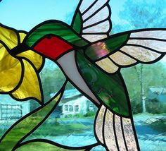 Ruby Throated Hummingbird Round Stained Glass by LivingGlassArt