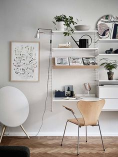 (my) unfinished home office corner. Home Office Decor, Office Furniture, Living Room Furniture, Modern Furniture, Furniture Ideas, String Regal, String Shelf, Workspace Design, Office Workspace
