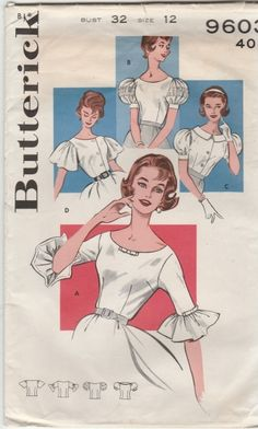 Butterick 9603 circa 1962; Misses Blouses with Sleeve Variations; Size 12, B32 - New Vintage Studio
