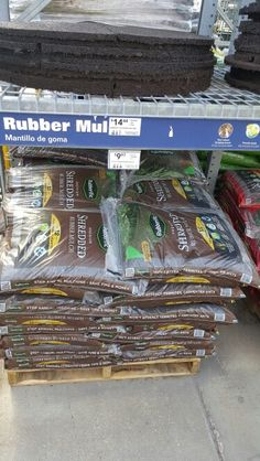 Recycled rubber mulch @ Lowes
