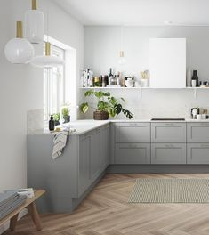 9 nye tendenser: Sådan skal dit køkken se ud i 2018 Kitchen Interior, Kitchen Inspirations, Kitchen Design Small, Kitchen Cabinets, Kitchen Decor, New Kitchen, Kitchen Dining Room, Kitchen Furniture Design, Home Kitchens