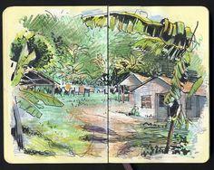 15 by Sketchbuch Travel Sketchbook, Watercolor Sketchbook, Artist Sketchbook, Fashion Sketchbook, Artist Journal, Landscape Drawings, Sketchbook Inspiration, You Draw, Urban Sketching