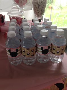 Pink and gold Minnie Mouse water bottles