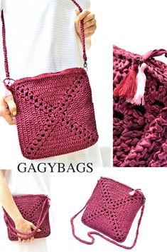 Burgundy crochet purse Everyday essentials bag Marsala Crossbody Knit handbag Handmade gift for women Crochet Bag Tutorials, Crochet Projects, Crochet Patterns, Crochet Gifts, Free Crochet, Knit Crochet, Crochet Cross, Crochet Handbags, Crochet Purses