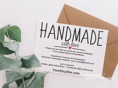 webdesign INSTANT Handmade Merchandise Thank You Playing cards, Editable PDF Printable Packaging Ins Business Thank You Cards, Etsy Business Cards, Bussiness Card, Online Shops, Some Text, After Life, Craft Business, Business Ideas, Baking Business
