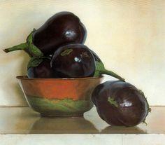 diophoros: Claudio Bravo (1936-2011) Eggplants, 1983. Chilean painter. 47x51cm. Pastel on paper.