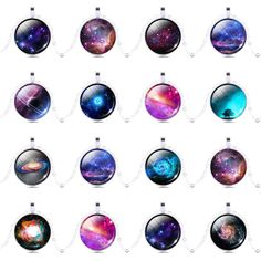 Vintage Necklace Galaxy Universe Photo Glass Cabochon Pendant Silver Chain Gift #Handmade
