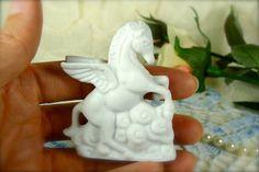 Tiny Miniature White Porcelain Pegasus Horse by TinyandBeautiful