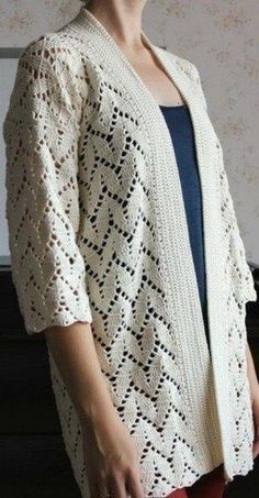 Discover thousands of images about crochet Gilet Crochet, Crochet Jumper, Crochet Coat, Crochet Jacket, Crochet Cardigan, Crochet Clothes, Crochet Stitches, Knitting Patterns, Crochet Patterns