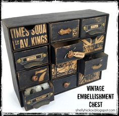 Stamptramp: Grungy Embellishment Chest - made with Eileen Hull's Sizzix Candy Drawer die and lots of chipboard! Altered Boxes, Altered Art, Shadow Box, Furniture Makeover, Diy Furniture, Diy Inspiration, Craft Storage, Painted Furniture, Crates