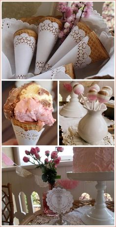 Neapolitan birthday party with vintage charm including doilies, lace and roses plus a six layer cake, cookies and ice cream. Girl talk, coffee and sweets!