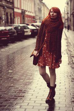 Get this look: http://lb.nu/look/4604263  More looks by Kasia Cieślik: http://lb.nu/pannalemoniada  Items in this look:  Oysho Scarf, Pull & Bear Pull&Bear Sweater, River Island Dress, Parfois Bag