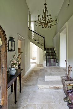 Dorset Manor House, hall and stairs, Sims Hilditch Country Hallway, Contemporary Hallway, Foyer Staircase, Stairs, French Kitchen Decor, Flagstone Flooring, Limestone Flooring, Georgian Interiors, Foyer Decorating