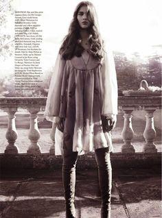 Elena Bartels for Harper's Bazaar Uk, May 2014Grey suede over-the-knee boots from Stuart Weitzman