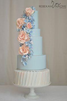 Peach and Blue Wedding Cake by Rebekah Naomi Cake Design - cakesdecor.com/...