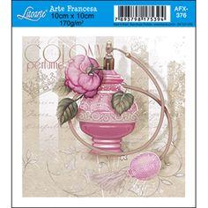Papel para Arte Francesa Litoarte 10 x 10 cm - Modelo AFX-376 Perfume Rosa - CasaDaArte