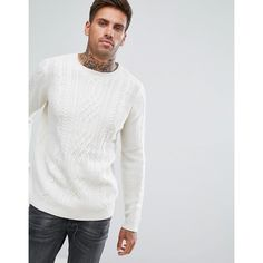 Pull&Bear Cable Knit Jumper In Cream (428.795 IDR) ❤ liked on Polyvore featuring men's fashion, men's clothing, men's sweaters, cream, mens cream sweater, mens cable sweater, mens chunky cable knit sweater, mens cream cable knit sweater and mens crew neck sweaters