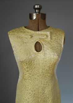 1960s Cocktail Dress Pastel Yellow Brocade Pattern by MDMvintage